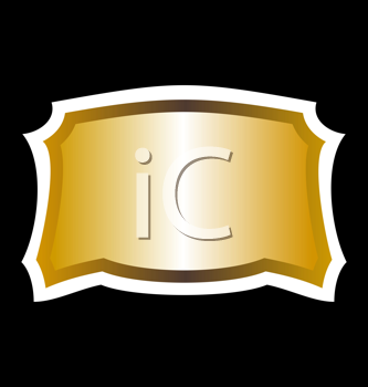 Royalty Free Clipart Image of a Gold Label