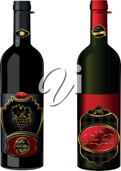 Illustration of wine bottles with attached vintage labels isolated on white background - vector