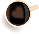 Illustration of coffee cup with love heart view top - vector