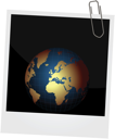 Illustration of our planet on photo frame background - vector