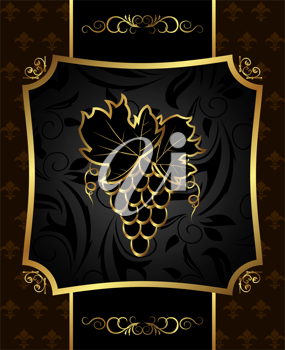 Illustration golden frame with grapevine - vector