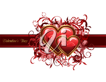 Illustration of Valentine's grunge card with hearts - vector