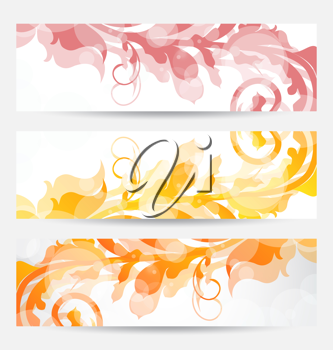 Illustration set floral templates with changing autumnal colors - vector