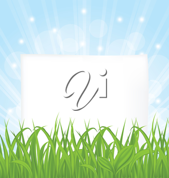 Illustration natural card with green grass and paper sheet - vector
