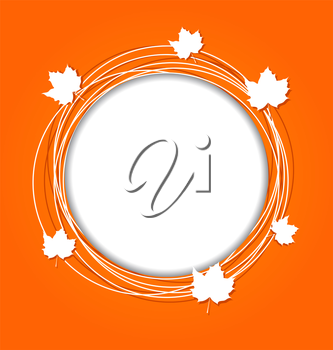 Illustration autumn round frame with leaves maple for canadian day - vector
