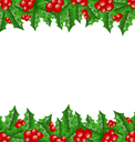 Illustration Christmas decoration holly berry branches - vector