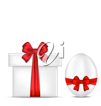 Illustration Easter gift box with red bow and egg - vector