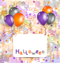 Illustration Halloween card with set colorful balloons and tinsel - vector