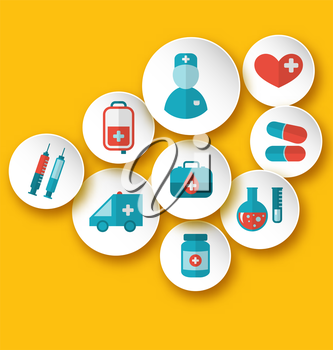 Illustration set medical icons for web design - vector