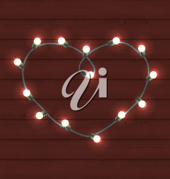 Illustration garland heart shaped on wooden background for Valentine Day - vector