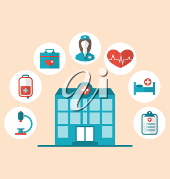 Illustration flat trendy icons of hospital and another medical objects, modern flat style - vector