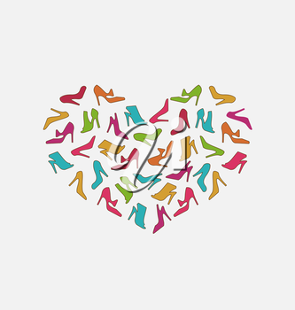 Illustration Heart Made in Women Shoes - Vector