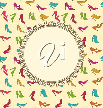 Illustration Greeting Card or Invitation with Women Shoes. Seamless Texture of Fashion Heeled - Vector