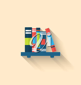 Illustration Colorful Different Books on the Shelf with Long Shadows, Minimal Flat Icons - Vector