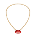Illustration Jewelry Golden Chain with Red Diamand - Vector