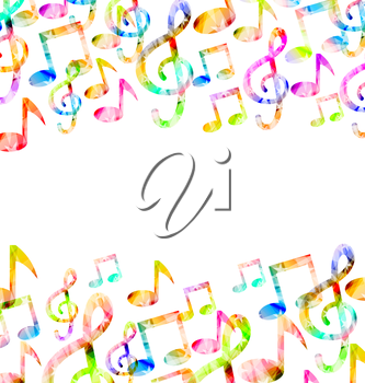 Illustration Rainbow Music Background with Copy Space for Your Text - Vector