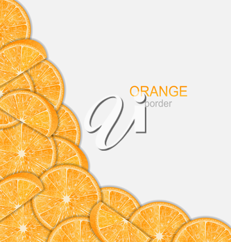 Illustration Abstract Border with Sliced Oranges on White Background - Vector