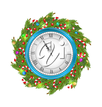 Illustration Christmas Wreath with Clock, New Year Decoration Isolated on White Background - Vector