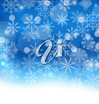 Illustration Winter Blue Background with Snowflakes and Copy Space for Your Text - vector