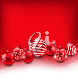 Illustration Christmas and Happy New Year Abstract Background with Red Balls, Bright Wallpaper - Vector