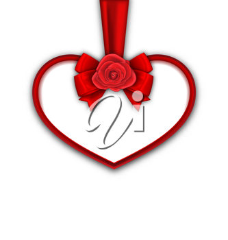 Illustration Red Heart with Red Rose, Ribbon and Bow for Happy Valentines Day, Isolated on White Background. Template for Greeting Card or Invitation - Vector