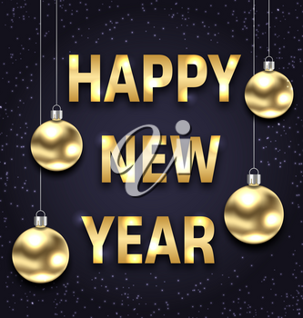 Happy New Year 2018 with Golden Glass Balls, Dark Banner - Illustration Vector