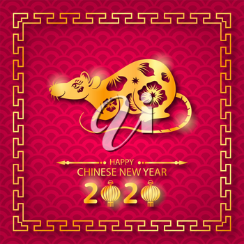 Happy Chinese New Year 2020 Card with Golden Rat Zodiac - Illustration Vector