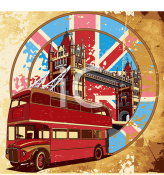 Royalty Free Clipart Image of a Double Decker Bus on a Vintage English Background
