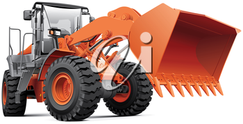 High quality photorealistic illustration of orange large front-end loader, isolated on white background.