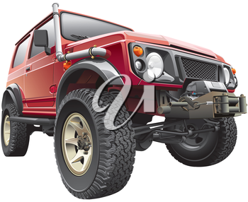 High quality photorealistic illustration of red rally jeep with truck-body hoist, isolated on white background.