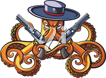 Vector colourful illustration of octopus in the broad-brim with two handguns in his tentacles, isolated on white background. File doesn't contains gradients, blends, transparency and strokes or other special visual effects. You can open this file with any vector graphics editors.