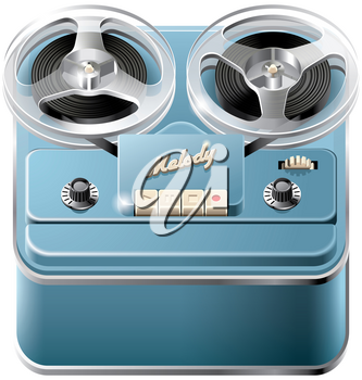 Vector icon of vintage reel-to-reel audio tape recorder, isolated on white background. File contains gradients, blends and transparency. No strokes.