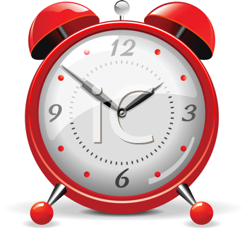 Royalty Free Clipart Image of a Red Alarm Clock