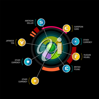 Vector round diagram with beam pointers infographic design template. Planetary concept with 8 options. Data visualization illustration suitable for web design.