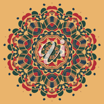 Vintage mandala of orange-red color with place for your text.