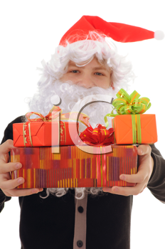 Royalty Free Photo of a Teenager Dressed as Santa