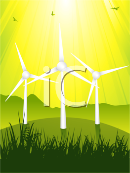 Royalty Free Clipart Image of Wind Turbines