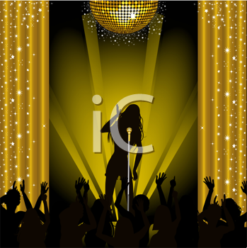 Royalty Free Clipart Image of a Singer Performing in Front of a Crowd
