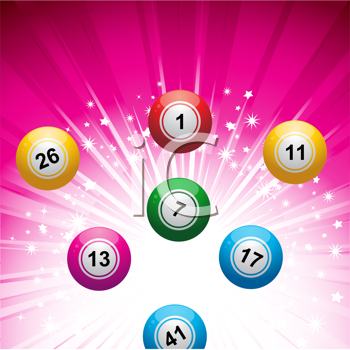 Royalty Free Clipart Image of Bingo Balls on a Pink Background