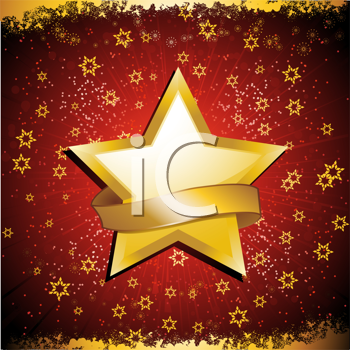 Royalty Free Clipart Image of a Background With a Gold Star