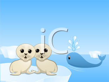 Royalty Free Clipart Image of Seal Pups on Icebergs and a Whale Blowing Water