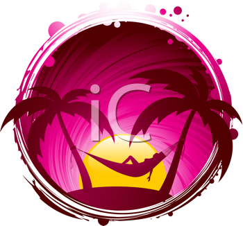 Royalty Free Clipart Image of a Tropical Background of a Woman in a Hammock
