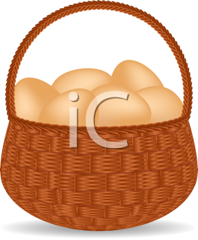 Royalty Free Clipart Image of a Wicker Basket Full of Eggs