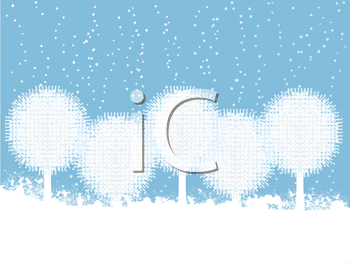 Royalty Free Clipart Image of Snowball Trees on a Winter Background