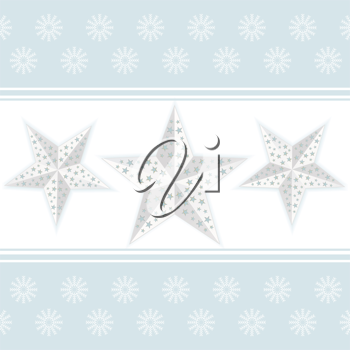 White Chistmas stars on a white background with blue border and snowflakes