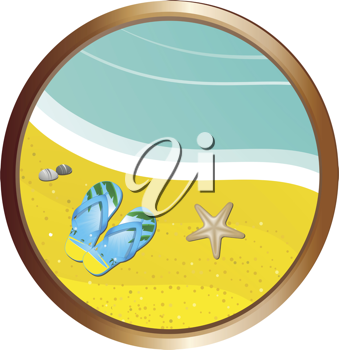Tropical beach with flip flops, sea and starfish in a gold edged border