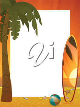 Summer border with surfboard, palm tree and beach ball
