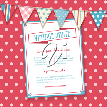 Vintage Invite on a pink polka dot background with bunting