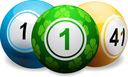 Bingo Balls with Lucky Clover Green Ball on a white Background