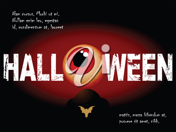 Halloween Background with Scary Eye Tombstone and Sample Text
